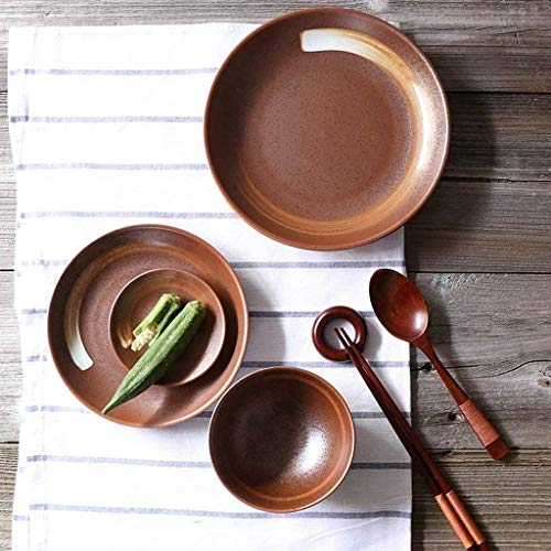 Restaurant supplies Creative Retro Brown Ceramic Tableware Home 8 Inch Salad Plate Small Soup Bowl Snack Bowl Soup Spoon 1 Person Cutlery Set Home Kitchen Supplies