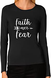 Tstars - Faith Over Fear Christian Fashion Gifts Women Long Sleeve T-Shirt