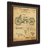 Original Harley Davidson Motorcycle Patent Art Poster Print - Framed Behind Glass 14x17