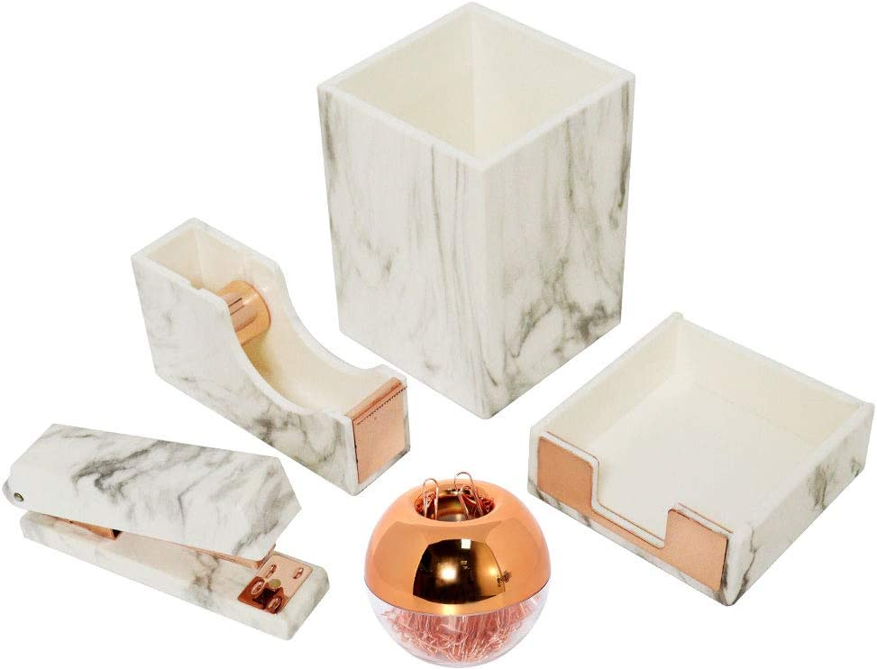 Cheap sale Multibey White Marble Office Supplies Desk 7 1 Organizers De Shipping included in