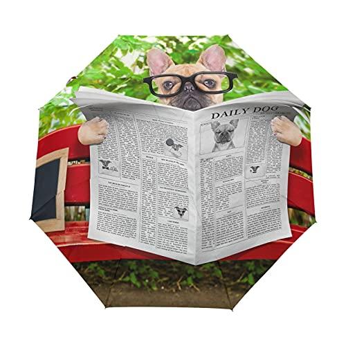 Oyihfvs French Bulldog Reading Newspaper Auto Open/Close Folding Umbrella, Strong Lightweight Travel Rain Umbrella, Portable Automatic Compact Sun Parasol with UV Protection