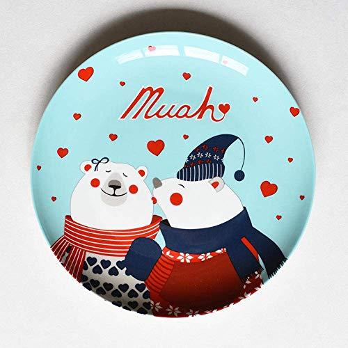 LLT Christmas Ceramic Plate Cartoon Hand Drawn Steak Dinner Plate Fruit Dish Plate New Year Gift,Plate-Warm