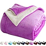 LBRO2M Sherpa Fleece Bed Blanket Queen Size Super Soft Fuzzy Plush Warm Cozy Fluffy Microfiber Couch Throw Velvet Double Reversible Luxurious Blankets,Purple