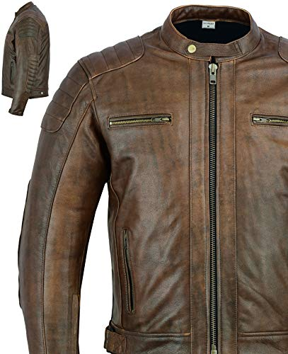 Men's Texpeed Brown Distressed Quality Cowhide Leather Motorcycle/Motorbike...