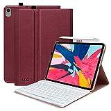 COO Coque Clavier pour iPad Pro 11 2018, Clavier AZERTY Français sans Fil Amovible, Supporte la Recharge du Stylo et Tablette iPad Housse pour modèle A1980 / A2013 / A1934(Bordeaux)