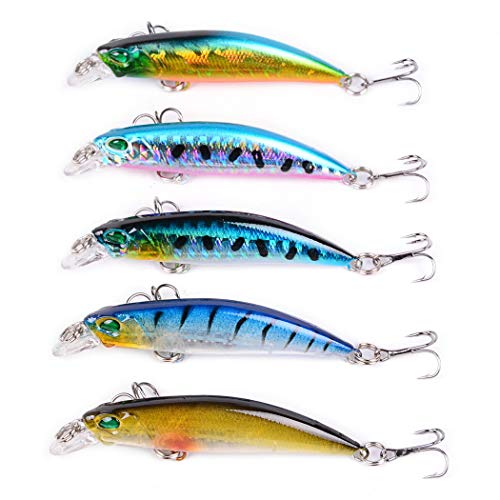 GOODGDN 8Pcs Wobbler Cebo Artificial Señuelos Pesca Cebo Artificial Duro Cebos Artificiales Flotante Swimbait Siluros Bass Lubina Señuelo para Pesca Spinning con VMC Triángulo Ganchos
