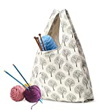 YARWO Knitting Yarn Bag, Canvas Tote Bag for Knitting Needles, Yarns and Unfinshed Project, Tree (Bag Only)