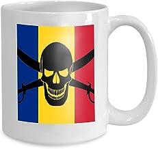 Funny Coffee Mug Gift Pirate Flag Combined Romanian Black Image Jolly Roger Cutlasses