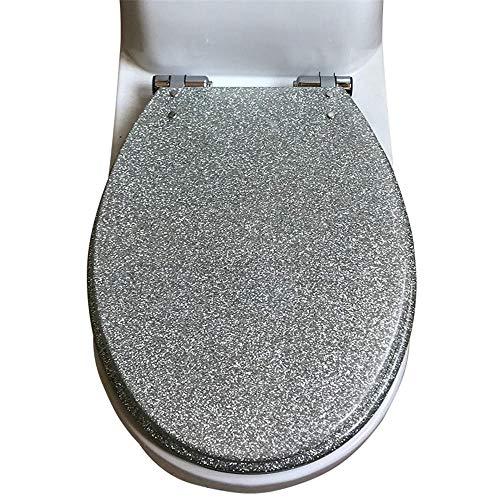 ASLW Toilettendeckel Harz O-Typ Absteigend Verdickend Uv-Typ Allgemeine Silberfarbe@Silber,Wc-Sitze
