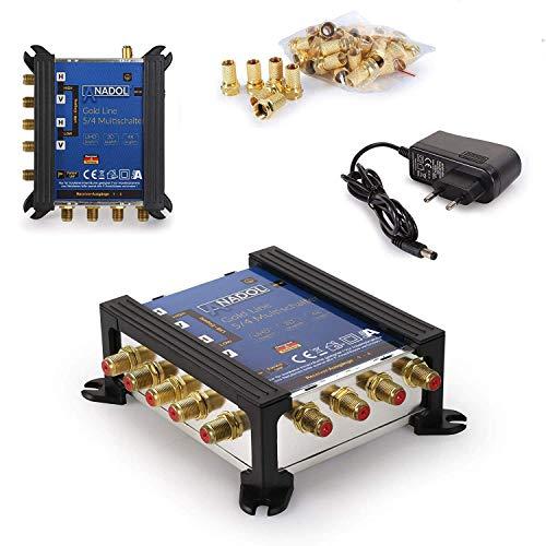 [ Test 2X SEHR GUT *] Anadol Gold Line Multischalter 5/4 für Satellit Multiswitch für 1 Satelliten und 4 Ausgänge/Sat Receiver - Sat-Verteiler mit Netzteil - 9 vergoldete F-Stecker gratis