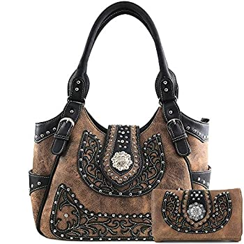 Justin West American Albino Floral Embroidery Buckle Shoulder Concealed Carry Handbag Purse  Brown Brown Purse and Wallet Set