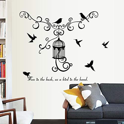 Vogelkäfig Silhouette Wandaufkleber Wohnzimmer Schlafzimmer Kinderzimmer Wanddekoration Wandaufkleber Wandaufkleber Dekoration Aufkleber 56x56cm