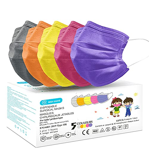 Lot de 50 Masque Chirurgical Enfant médical Masque de Protection Masque jetable Type 2R EN14683 BFE≥98% 3 Plis MEDI SANTÉ (Multicolor)