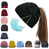 Bocianelli Womens High Messy Bun Beanie Hat with Ponytail Hole, Winter Warm Trendy Knit Ski Skull Cap