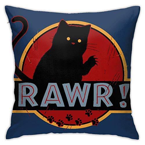 WH-CLA Throw Pillow Covers Jurassic Rawr Kitten Cat Park Anime Fundas De Almohada Decorativas Personalizadas Funda De Almohada Duradera con Cremallera Sofá De Fiesta Cuartos De Estar Hoga