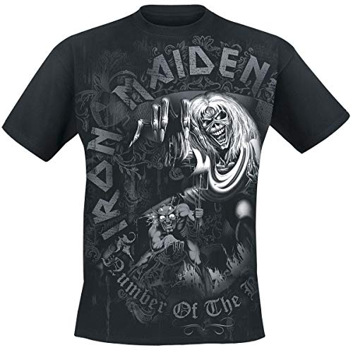 Iron Maiden Number of The Beast Grey Tone Hombre Camiseta Negro, Regular
