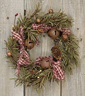 Rustic Holiday Pine Ring Berries Rusty Bells Pinecones Bows Country Primitive Christmas Décor