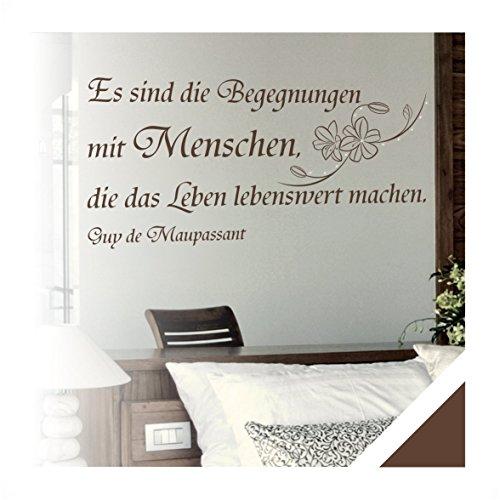 Exklusivpro Wandtattoo Wand-Spruch Begegnungen mit Menschen… mit SWAROVSKI (zit38 braun) 120cm