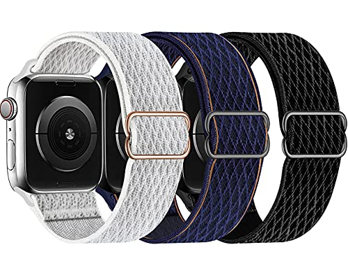 Swhatty Stretchy Nylon Solo Loop Bands Compatible with Apple Watch 44mm 40mm 42mm 38mm, Adjustable Stretch Braided Sport Elastics Women Men Strap for iWatch Series 6/5/4/3/2/1 SE (Pack A, 44mm 42mm)