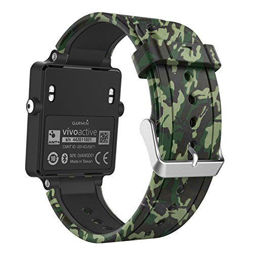 MoKo Correa de Reloj para Garmin Vivoactive, Pulseras Suaves de reemplazo de Bandas de Fitness de Silicona con Cierres metálicos - Camuflaje de la Fuerza terrestre