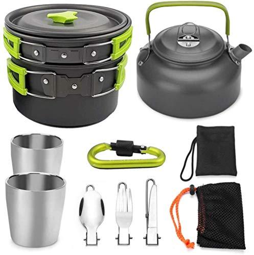YSCYLY Kit De Batterie De Cuisine Camping,Batterie de Cuisine 9 pièces avec Mousqueton pour théière,pour Outdoor/Pique-Nique/Excursion Pliable Casseroles Et PoëLes