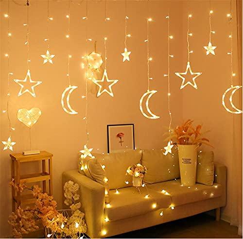 Pterygoid Lichterketten Vorhang,3,5 m Star Moon LED Vorhang Lichter Wand Lichterketten für Zimmer,Party,Garten,Weihnachten,Halloween,Hochzeit,Innen Beleuchtung,Warmweiß