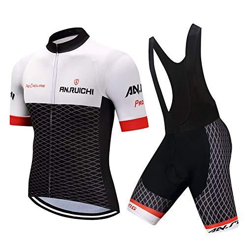 d.Stil Set Abbigliamento Ciclismo da Uomo in Jersey Ad Asciugatura Rapida,Giacca da Ciclismo + Shorts da Ciclismo con Gel Pad Anti-Sweat Anti-UV Abbigliamento per Bici da MTB (Nero-Bianco, L)
