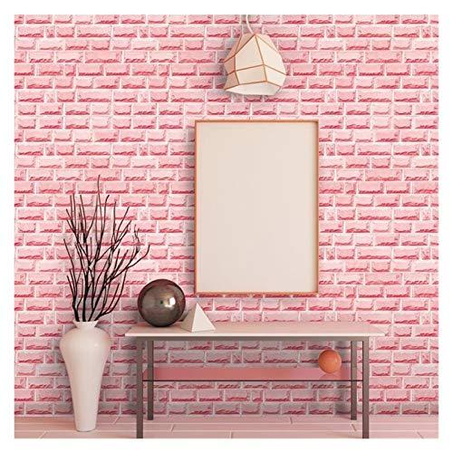 WHYBH HYCSP Red Brick Wallpaper for Wohnzimmer Schlafzimmer Küche Hintergrund Kunst-Wand-Removable Selbstklebende Wand-Papiere Home Decor (Color : Pink Brick, Size : 45cmx1m)