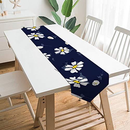 YY-one Camino de mesa estilo casa de campaña, flores blancas de manzanilla...