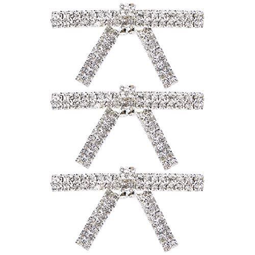 Broche de cristal de 3 piezas, broches con lazo de diamantes de imitación, decoración de ropa de boda de cristal para mujer