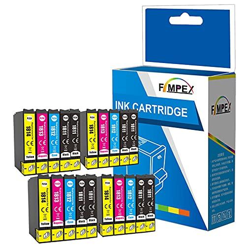 Fimpex Compatible Encre Cartouche Remplacement Pour Epson XP-102 XP-202 XP-205 XP-212 XP-215 XP-225 XP-30 XP-302 XP-305 XP-312 XP-315 XP-322 XP-325 XP-402 XP-405 XP-405WH XP412 18XL (B/C/M/Y, 20-Pack)