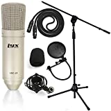 LyxPro Cardioid Condenser Microphone For Studio, Vocals, Instruments, Podcasting and Professional Recordings with Shockmount, Mic Stand, Pop Filter, XLR Cable