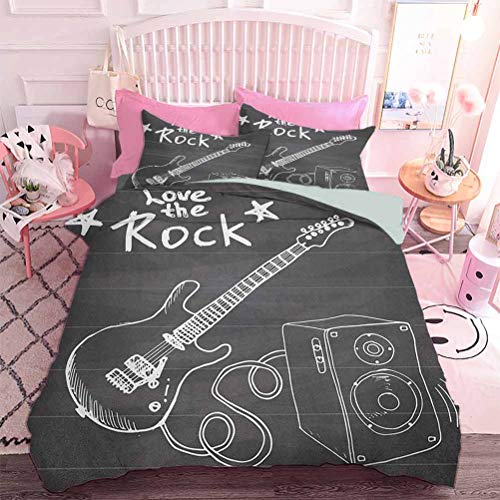 Hiiiman Home Decor Textile Love The Rock Music Themed Sketch Art Sound Box and Text on Chalkboard (3pcs, Full Size) 1 Duvet Cover and 2 Pillowcovers