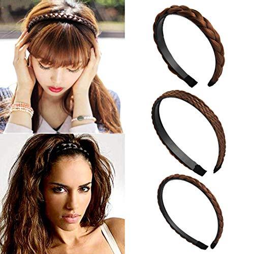 Fashband Fasce intrecciate Ampia fascia per capelli elastica Classica treccia intrecciata Cerchietto sintetico per donne e ragazze 3 pezzi