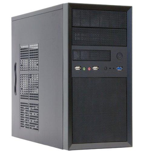 Chieftec CT-01B-OP iArena Mini Tower PC-Gehäuse (microATX), Schwarz