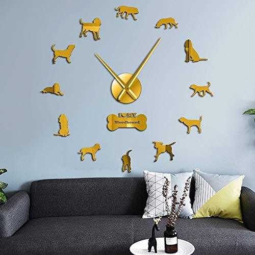 Perro Sabueso Raza casa decoración Pared Reloj Reloj de Arte Reloj de Vela Saint Hubert Sabueso Cuarzo silencioso Cuarzo sin Marco Gran Pared Relojes Cachorro Perro decoración(Oro,27 Pulgadas) rega