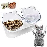 HUHUDAY Comedero Gato, Cuencos Dobles para Gatos, Platos para Gatos, Cuenco del Gato, Tazón para Mascotas Antideslizante Doble Comedero Gato 15° Inclinación Protector del Cuello