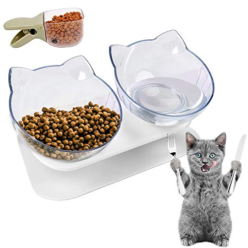 HUHUDAY Katzenfressnapf, Futternäpfe Katzenfutter, Katzennapf Gegen Erbrechen, Orthopädischer Fressnapf Katze, Katzenschüssel Erhöht, Katzennäpfe Schräg, 15°Katzenfutter Bowl mit Erhöhtem Stände