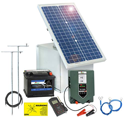 Solar Elektrozaun Komplett-Set: sofort startbereit inkl. 12V Weidezaungerät, Metallbox, 30W Solar Panel, Erdung, Allen Kabeln, Prüfer, 50Ah Akku mit Säure & Diebstahlschutz zum Bestpreis