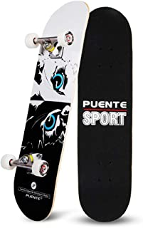 YF YOUFU Skateboard Complete, 31 Inch Pro Skateboards, Tricks Skate Board Beginners- 7 Layer Canadian Maple Wood Double Kick Concave Skateboards