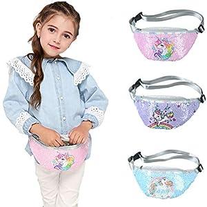 DUOCACL Bolsos para niñas: riñonera con Lentejuelas de Unicornio, riñonera con Lentejuelas Brillantes y cinturón…