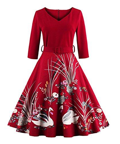 Minetom Donne 1950'S Vintage Maniche a 3/4 Cigno Stampa Floreale Midi Vestito Elegant Collo V Abito...