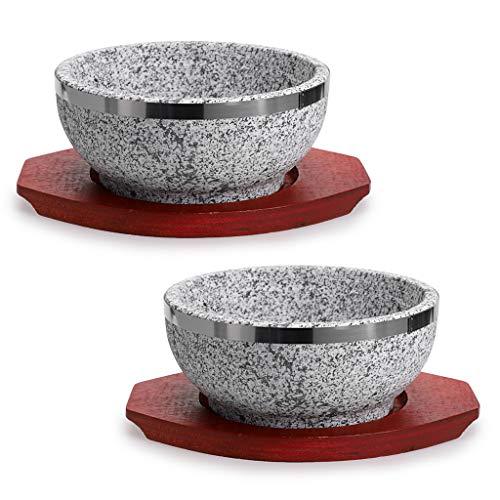 MDLUU 2 Stück Dolsot Bibimbap Schüssel, Granit Stein Schale mit Holzboden, Dolsot Topf für koreanische Suppe, Reis und Eintopf