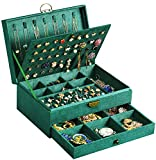 Jewelry Box for Women Girls, QBeel Big Jewelry Earrings Organizer Box with Lock Drawer Women Jewelry Display Storage Case for Earrings Bracelets Rings Necklace Watches