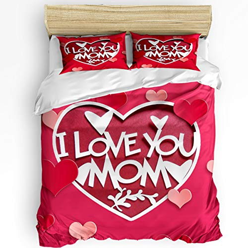 Breathable 3pcs Bedding Set Duvet Cover Sets,Twin Size Soft Comforter Sets with Zipper Closure&Corner Ties for Adult Kids,Happy Mothers' Day Love Pink Heart Shape 1 Quilt Cover,2 Pillow Shams Set