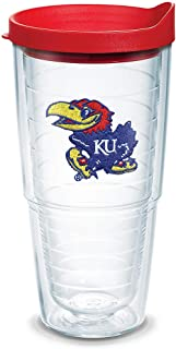 Tervis Kansas Jayhawks Logo Tumbler with Emblem and Red Lid 24oz, Clear