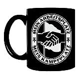 Kaffeetasse schwarz 300ml große Tasse bedruckt Mein Arbeitsplatz Mein Kampfplatz