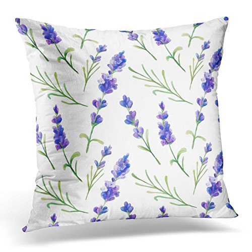 Sdamas Decorative Pillow Cover Colorful Wedding with Watercolor Lavender Flowers Hand Provence Herbs Perfect and Purple Botanical Throw Pillow Case Square Home Decor Pillowcase 16x16 Inches