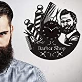 HGFDHG Moda Creativa peluquería Tablero de Vinilo Reloj de Pared Cocina peluquería única Pared Hecha a Mano