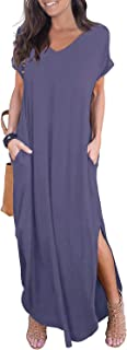 GRECERELLE Women's Casual Loose Pocket Long Dress Short Sleeve Split Maxi Dresses